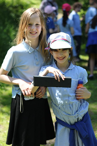 Megan and Holly with their mammal trap