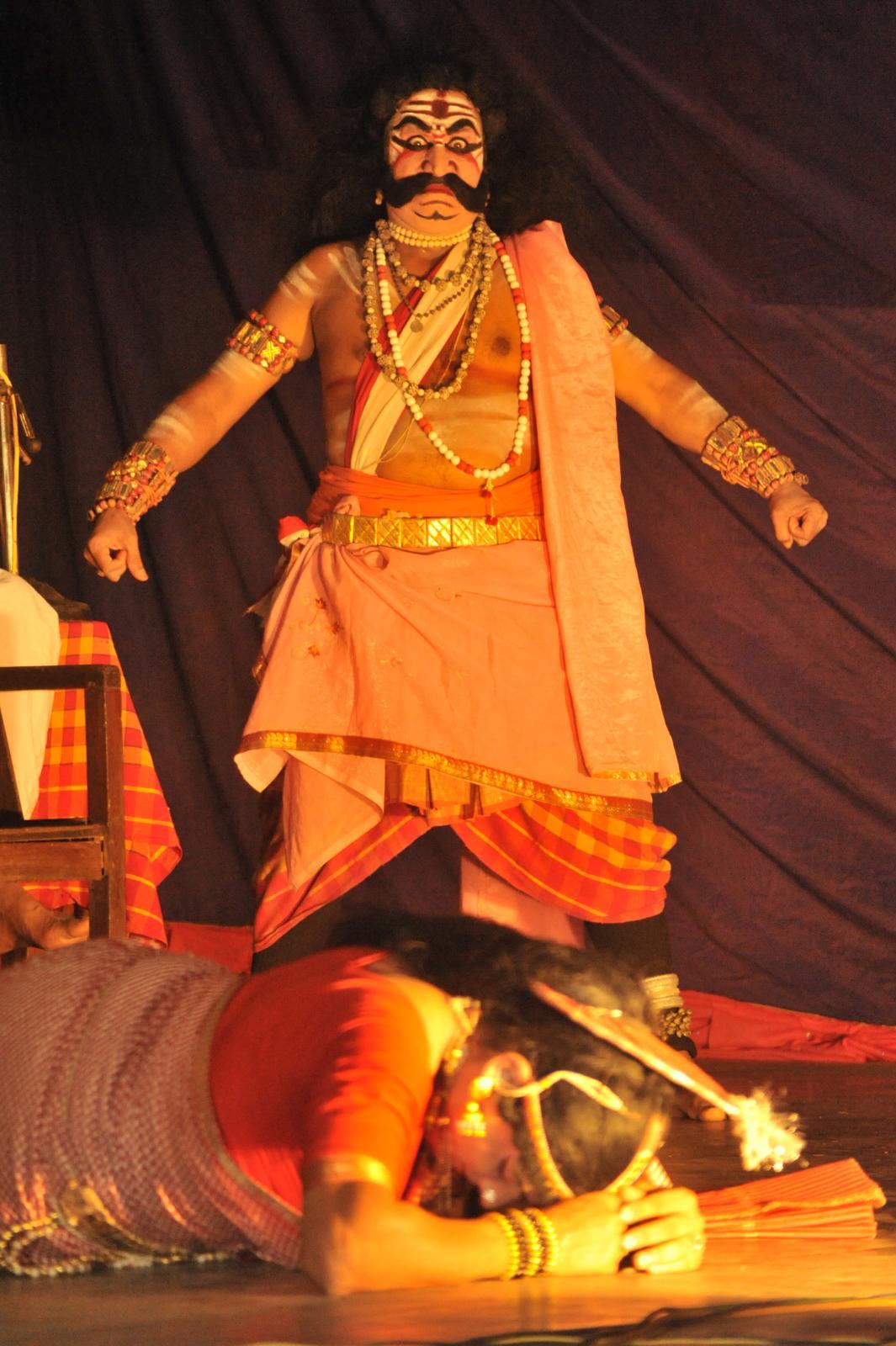 Sairandhri sharing her woes with Bhima and seeking help. Yakshagana, Kichaka Vadha