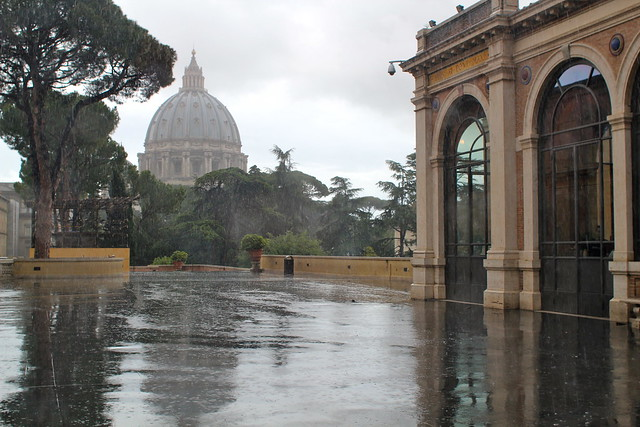St Peter's in the rain from the Vatican Museum
