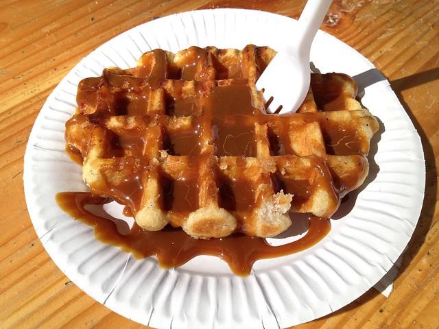 Waffle with caramel sauce - Belgian Waffle Stand