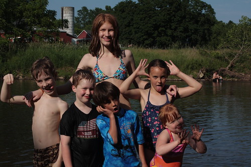 Cousins after the swim