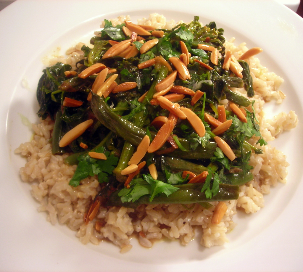 Green bean and kale bihari masala, basmati brown rice