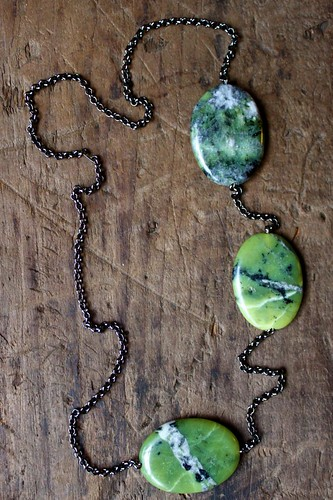 olive jade disks on a gunmetal chain by denise carbonell