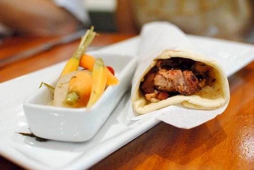 grilled chicken wrap tabooley, tzatziki, spicy pickled vegetables