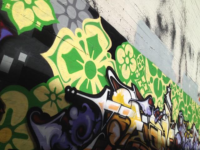 Colorful graffiti mural, Market Street