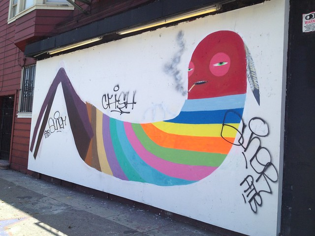 Smoking Indian worm graffiti mural, Bryant Street