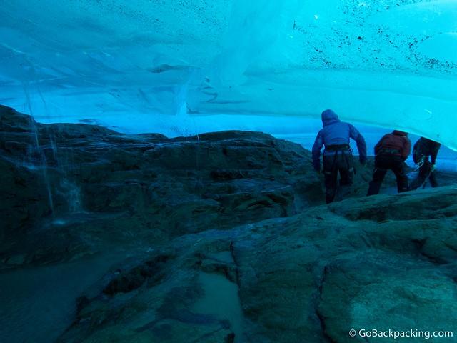 Walking under Viedma Glacier