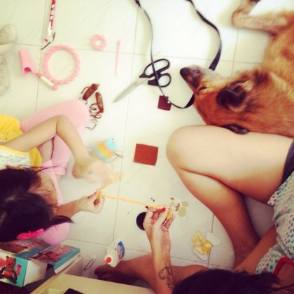 craft day with the kids (dog included)