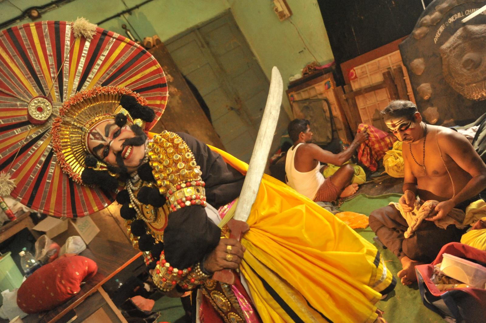 Kichaka ready to enter the stage. Yakshagana, Kichaka Vadha