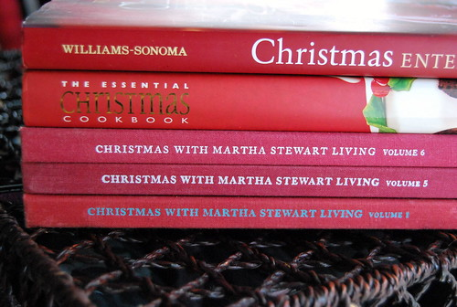 stack of red christmas books