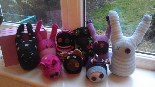 gaggle of sock monsters