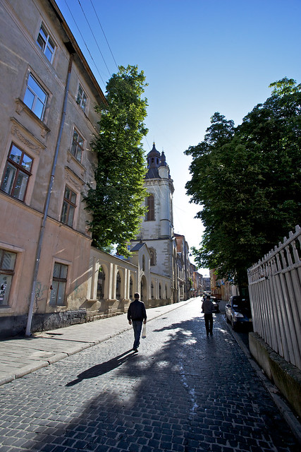 view on Armenian church, Virmenska street. Lviv, Ukraine