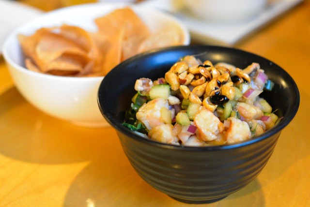 Ceviche de Corazon shrimp, octopus, burnt peanut, house tortilla chip