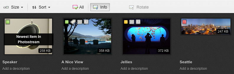 Flickr Web Upload UI: Info View