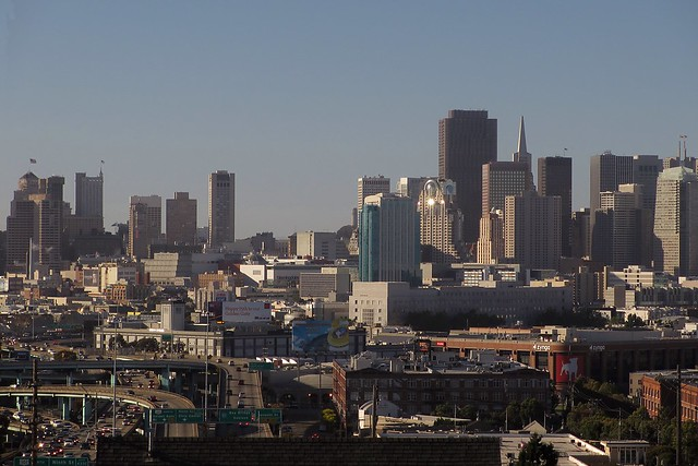 The San Francisco skyline during the solar eclipse.