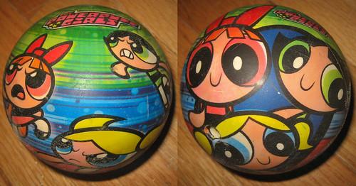 20120519 - yardsale booty - toy - Powerpuff Girls ball - IMG_4197-diptych-IMG_4198