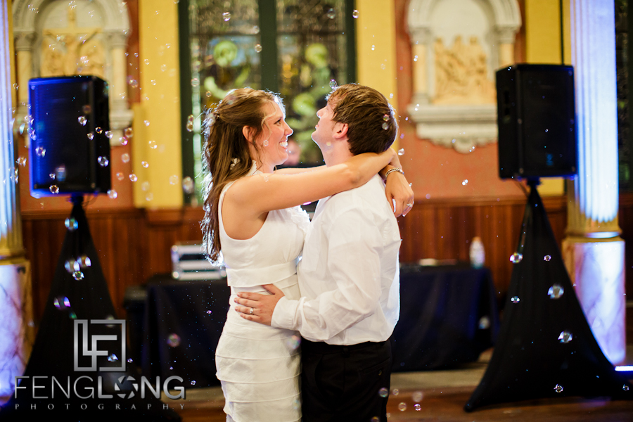 Bride + Groom Last Dance with Bubbles | Sarah & Alex's Wedding | Sacred Heart Cultural Center | Augusta Destination Wedding Photographer