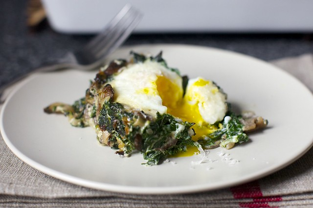 baked egg with spinach and mushrooms
