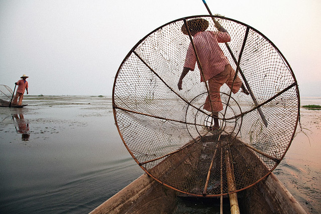 Traditional Fishing - Inle Lake, Myanmar