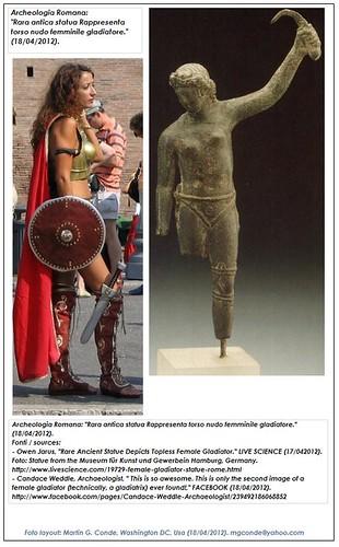 """Archeologia Romana: """"Rara antica statua Rappresenta torso nudo femminile gladiatore."""" (18/04/2012). by Martin G. Conde"""