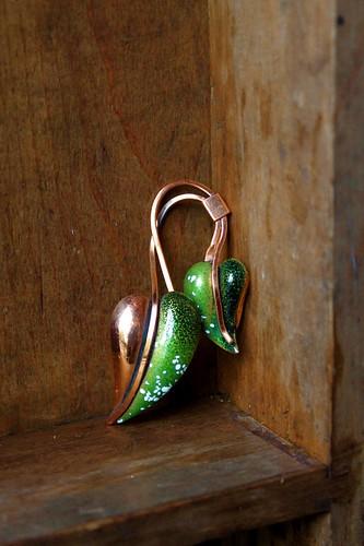 green enamel & copper leaf form brooch by denise carbonell