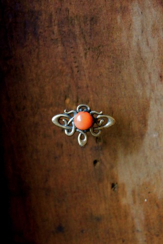 victorian brass & coral brooch by denise carbonell
