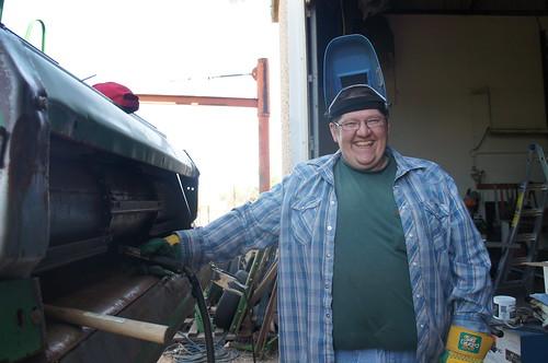 Dan at home fixing combines