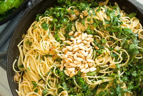 pasta with spiced butter, herbs and pine nuts