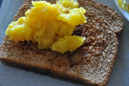 Mashed squash on bread
