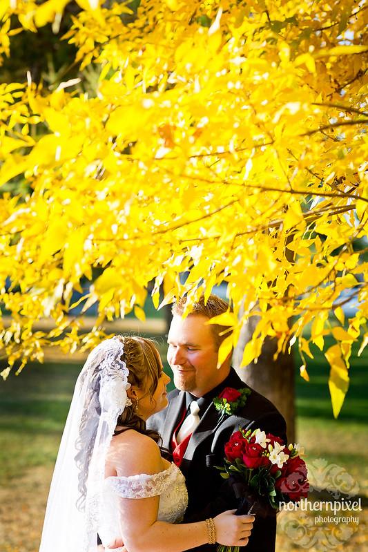 Melanie & Blake Wedding fall colors yellow leaves
