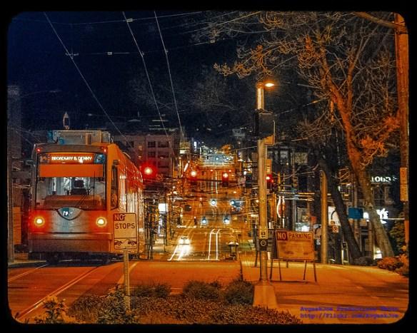 Seattle Streetcar Departing Broadway & Marion Street Station in Kodachrome...