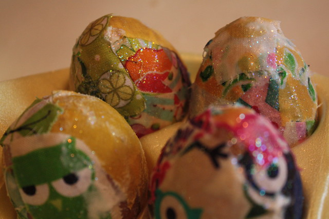 Fabric Decoupage Easter Eggs