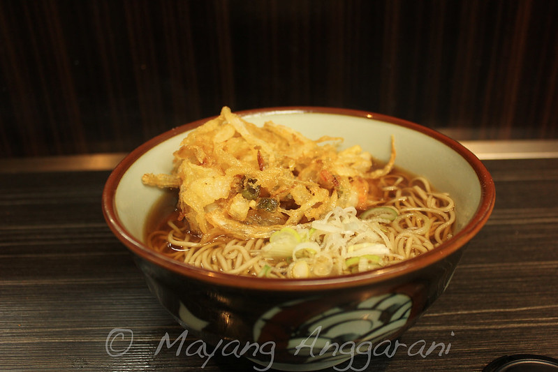A bowl of hot soba with vegetable fritters and mystery but delicious broth