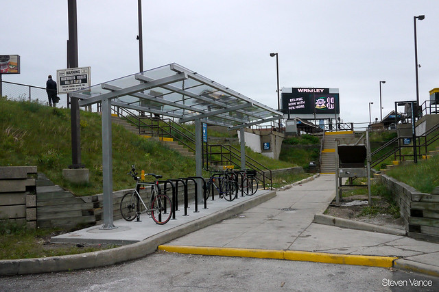 New bike parking at the Clybourn Metra station