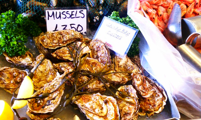 FreshGalway oysters at the fish market, only 70p each on Evelina Road in Peckham, London