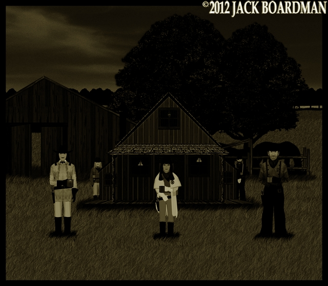 The posse surrounded the rustler's bunkhouse ©2012 Jack Boardman