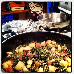 Collards & Potatoes - collard greens, Portuguese chorizo sausage, red + green peppers, onion and garlic.