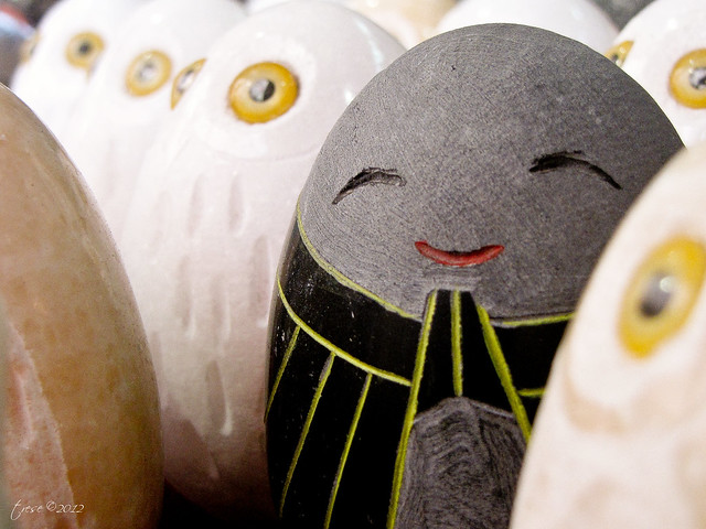 smiling stone egg handicraft