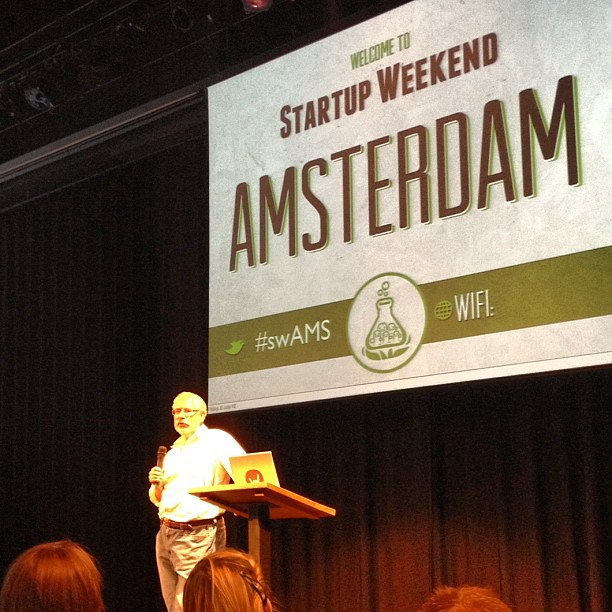 The AWESOMENESS! Steve Blank surprise keynote at Startup Weekend Amsterdam! Hi again @sgblank :) #swams