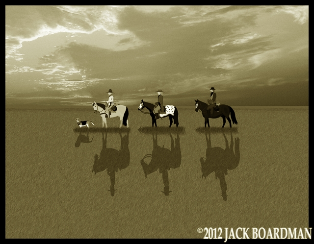Boomer, Hickok & Derby riding south on the prairie ©2012 Jack Boardman