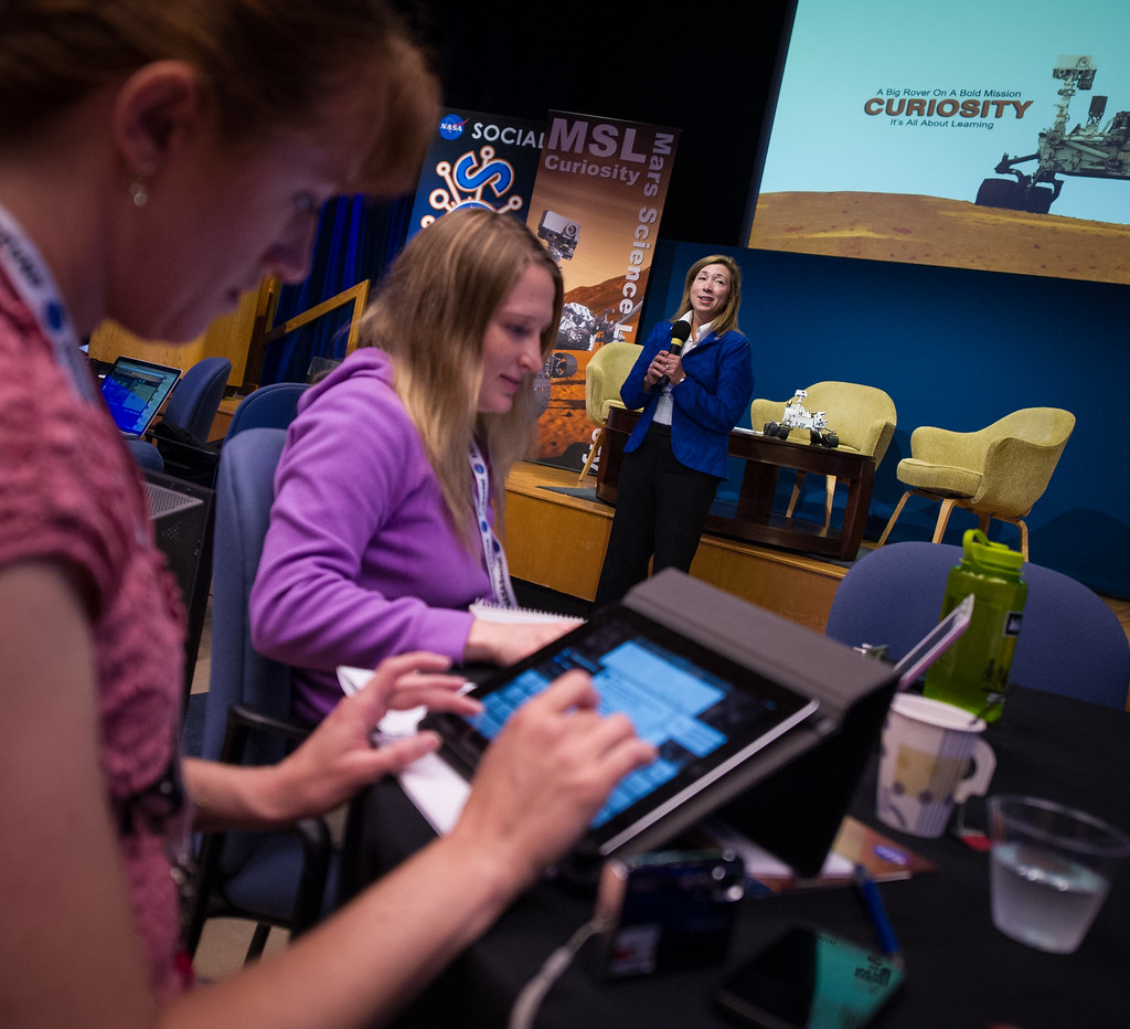 It wasn't just MacBook Pro's though, if you looked closely enough you'd have seen an iPad or two thrown in there as well. Here's a NASA employee typing on one during the media event: