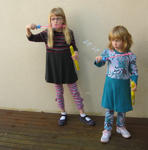 blowing bubbles - wearing nigella tunics