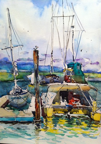 Plein air at Pete's harbor, Redwood City by Taswiir