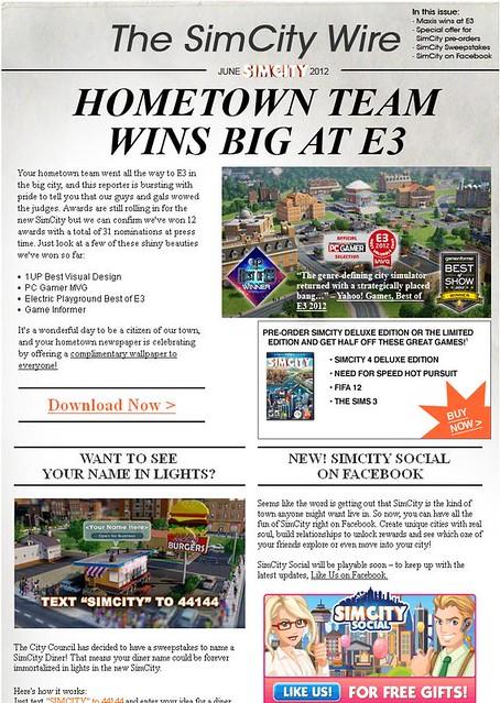SimCity @ E3 Newsletter!