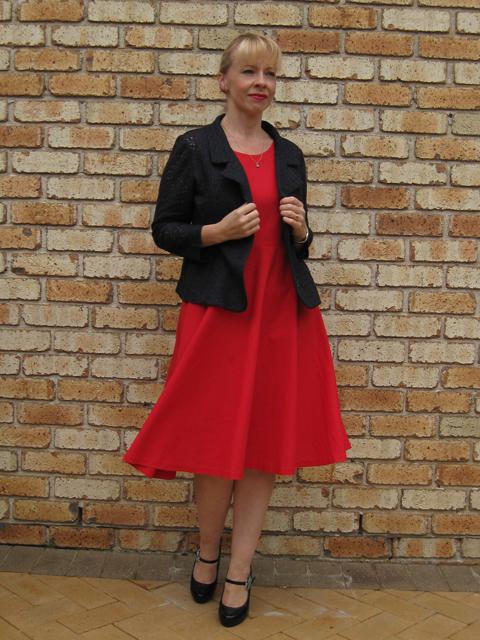Red Linen  Elisalex Bodice with Half Circle Skirt