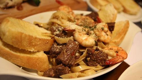 Hanger Steak and Shrimp Pasta at Haichix and Steaks