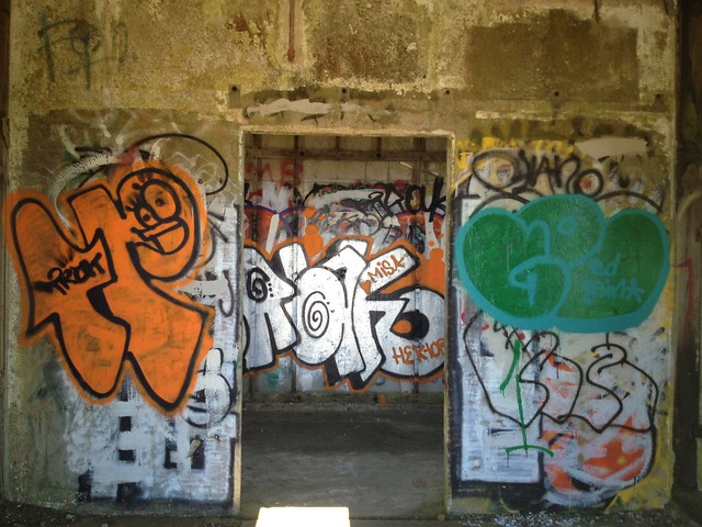 Abandoned building (old lookout?) with graffiti