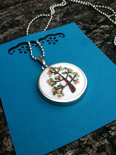 tree of life embroidered pendant