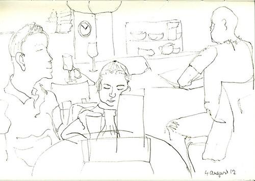 First sketch in a restaurant