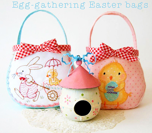 Embroidered Easter Rabbit & Chick Bags - Free PDF Patterns